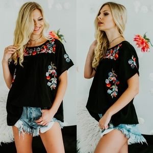 DAISY Boho chic Floral Top   - BLACK